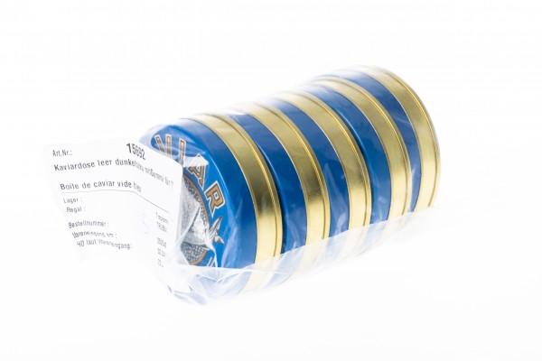 Boîte de caviar vide bleu